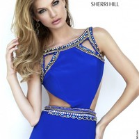 Sherri Hill 32140 Royal Blue Cutout Bodice Bateau Neckline Sweep Train