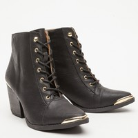 Lace-Up Heeled Bootie