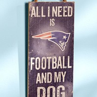 """Rustic Home Decor """" All I Need Is Football And My Dog """" Distressed NFL Football Wall Art Plaque Sign Multi Teams"""