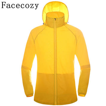 Facecozy Women&Men Hooded Quick Dry Hiking Camping Shirts Summer Outdoor Sport Breathable Thin Fishing Jackets