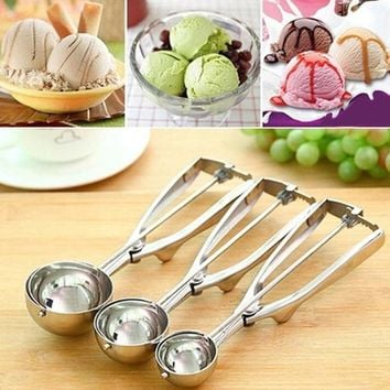 2017 NEW Stainless Steel Ice Cream Spoon Spring Trigger Cookie Scoop Kitchen Tool