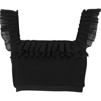 Black chiffon frill crop top - Tops - Sale - women