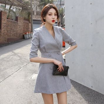 2015 Autumn Brief Women dress Sleeve V-Neck Temperament Double-breasted Waist OL Dresses Gray 1591