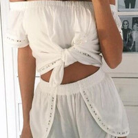2016 Summer Fashion Bandage Tops + Shorts Set