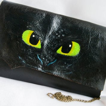 Toothless bag ,leather clutch, handmade leather purse, hand sewn, Toothless the dragon bag