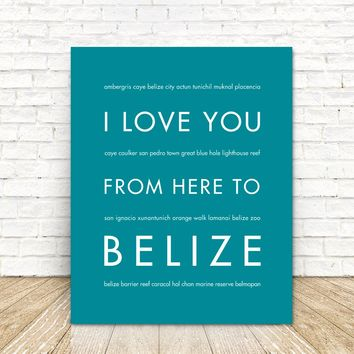 BELIZE Travel Art Poster | Gift Idea | HopSkipJumpPaper