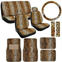 NEW 15P LEOPARD AUTO CAR SEAT COVER & FLOOR MAT SET