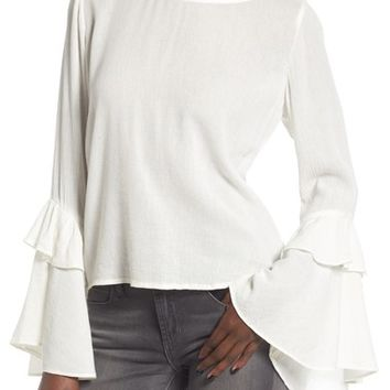 Sun & Shadow Ruffle Bell Sleeve Blouse | Nordstrom