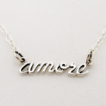 Cursive Amore Word Necklace in Sterling Silver on 16, 18, 20 Inch Cable Chain, Word Jewelry, French for Love, Celebrity Style, Everyday Wear