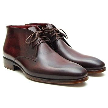 Paul Parkman Men's Chukka Boots Brown & Bordeaux Designer Shoes (ID#CK43E8)