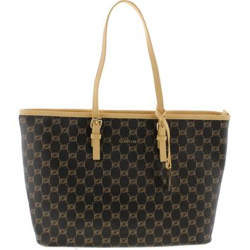 Bebe Womens Reese Faux Leather Printed Tote Handbag