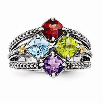 Sterling Silver & 14k Four-Stone Mother's Ring