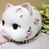 Piggy Bank Personalized Girl Pink Floral Roses Ceramic Porcelain  Hand Painted blm