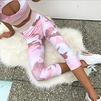 2018 Pink Tracksuit Women 2 Piece Yoga Set Print Women Bra+ Pants Sportsuite For Women Fitness Sport Suit Women Sportswear