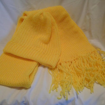 Bright Yellow Hand Knitted Scarf and Hat Set