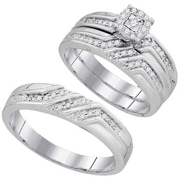 10kt White Gold His & Hers Round Diamond Solitaire Matching Bridal Wedding Ring Band Set 3/8 Cttw - FREE Shipping (US/CAN)