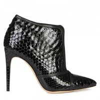 Patent python ankle boots
