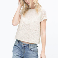 DT190  Fashion Ladies' elegant sweet lace crop blouses vintage O neck double pockets short sleeve shirts casual slim brand tops