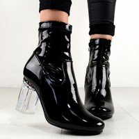 NYLA Fashion Clear Perspex Block Heel Design Ankle Boots In Black Pate – NaomiShu