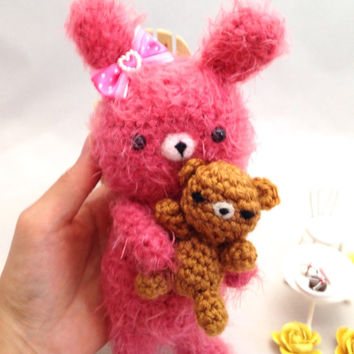 Amigurumi Bunny Amigurumi Bear Crochet BunnyCrochet Bear Crochet Doll Fuzzy Bunny Toy Plush Kids Toy Kawaii Doll Valentine's Day Gift Idea