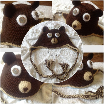 Hand Crochet bear face with Shell Button Eyes, ear flaps hat Brown, Polar, White, Black for Baby Newborn Infant Beanie Photo Prop