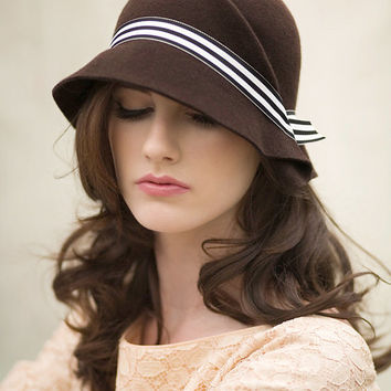 Winter Cloche Hat with Stripe Band, Modern Warm Wool Felt Hat - Amelee