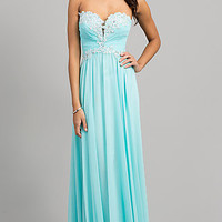 Strapless Blue Prom Gown with Lace Up Back