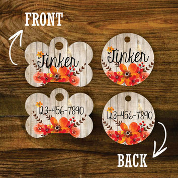 Fall Floral Bouquet Double Sided Pet Tag - Customized Dog Tag - Custom Dog Tag - Personalized Dog Tag - Monogrammed Dog Tag - Custom Tag