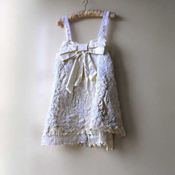 Church Bow Top, Vintage Lace, White, Cream, Antique, Mother of Pearl, Romantic, Gypsy Bohemian, Tank