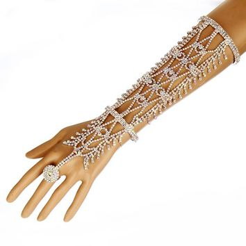 Rhinestone Slave Ring and Bracelet