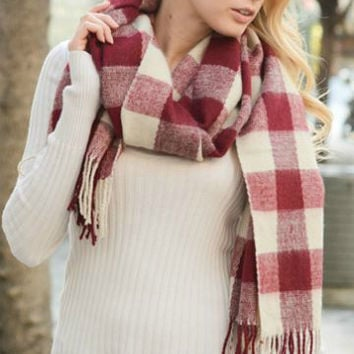 Check Craze Scarf | Wine