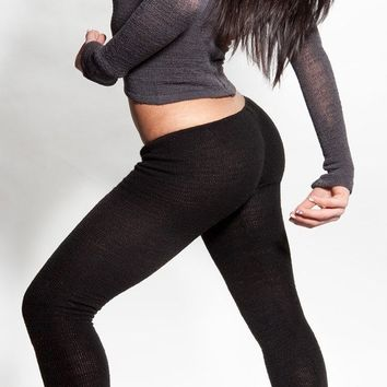 Yoga Tights / Dance Leggings / Unique Low Rise Knit Dancewear