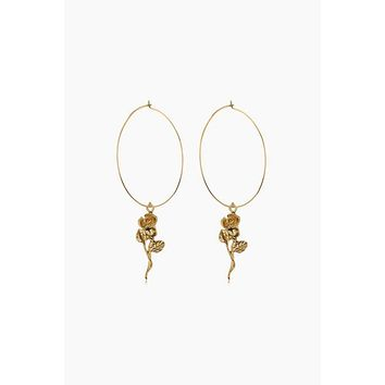 Rosette Hoop Earrings - Gold