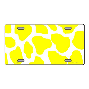 Smart Blonde Yellow | White Giraffe Print Customizable Vanity Metal Novelty License Plate Tag Sign