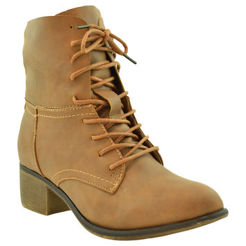 Womens Ankle Boots Faux Leather Lace Up Western Block Heel Shoes Cognac
