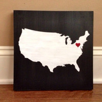 Pick Colors, United States Map Wood Sign, Map Sign, Stained and Hand Painted, Map decor, Map art, State sign