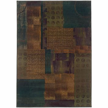 Kharma II Blue Green Geometric Patchwork Contemporary Rug