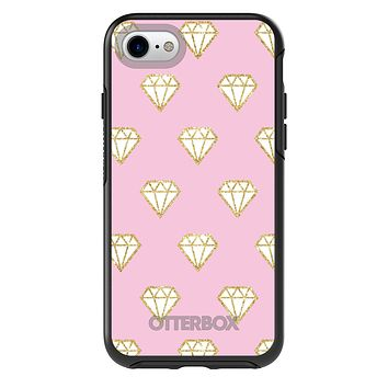 DistinctInk™ OtterBox Symmetry Series Case for Apple iPhone or Samsung Galaxy - Pink & Gold Print - Diamond Pattern