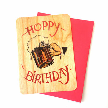 Hoppy Birthday-Wood Card