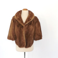 Vintage 1950s 1960s Fred Everth Mink Capelet Brown Fur Stole Fur Cape Couture Fur Wrap Mad Men Flapper Pin Up Wedding Dress Cover Up