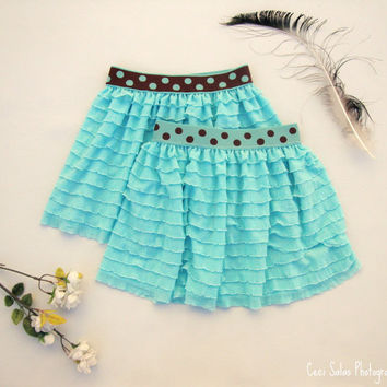 Cute As A Dot ruffle skirt in Seafoam, currently available in size 3T, made to order for sizes 2-4T by One Last Stitch