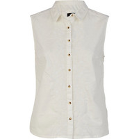 River Island Womens White sleeveless shirt
