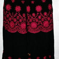 Womens Embroidered Skirt, Mexican Long Skirt, Floral Skirt, One Size Fits All, Black Skirt, Skirt with Liner, Gypsy Skirt, Hippie Skirt
