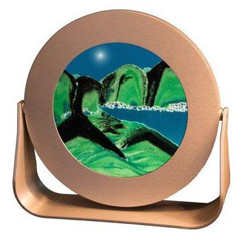 Exotic Sands Made in USA-Small Round Silver Frame (Summer Turquoise) Gift! Sand Pictures