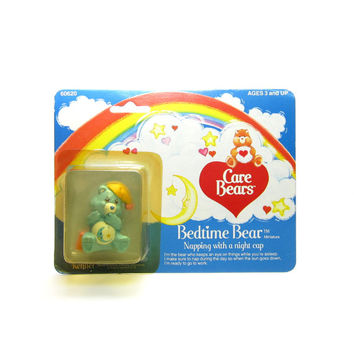 "Bedtime Bear Figurine MOC Mint on Card Vintage Care Bears PVC ""Napping with a Night Cap"""