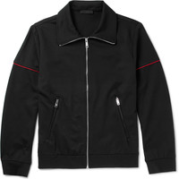 Prada - Slim-Fit Contrast-Trimmed Tech-Jersey Zip-Up Sweatshirt