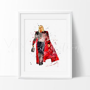 Thor 3 Watercolor Art Print
