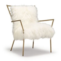 ANSEL CHAIR BRASS - TIBETAN FUR<BR>[available online and in stores]