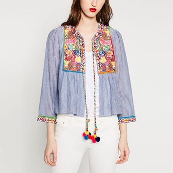 Vintage ZA Ethnic Colorful Floral Flower Embroidery Striped Cardigan Outwear Jacket Tassel Bell Beading Casual Coat Sunscreen