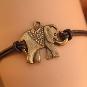 elephant bracelet,retro bronze lovely elephant pendant bracelet,brown true leather bracelet---B268